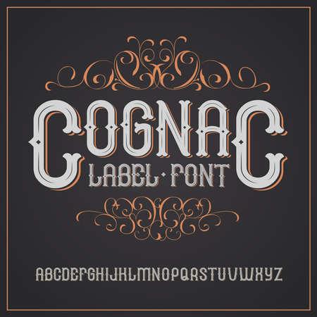 Wektor archiwalne etykiety czcionki. Cognac stylu etykiety