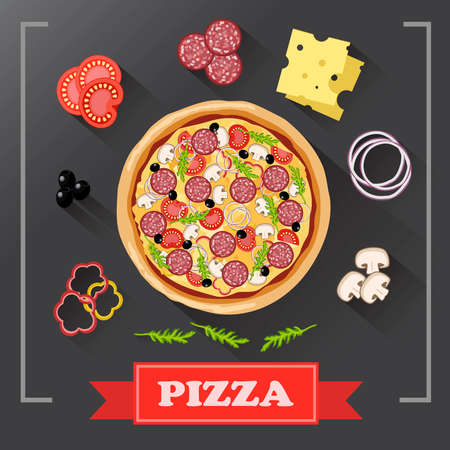pizza ingredients: Pizza ingredients parts on chalkboard. Pizza with signed ingredients. Set food Pizza