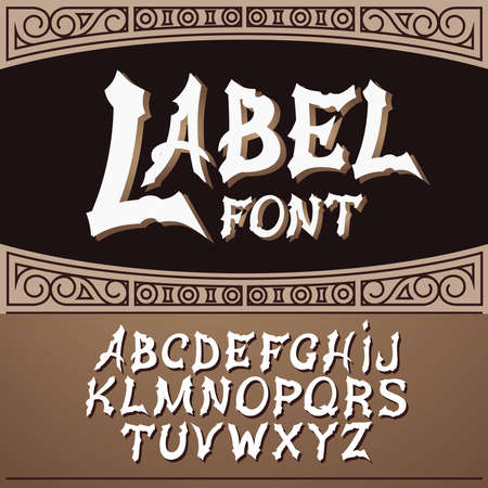 old poster: label font, modern style.  Whiskey label style Illustration