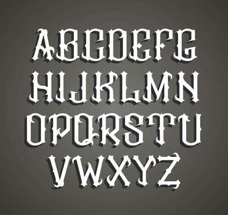 old letter: gothic label font. Cognac label style.