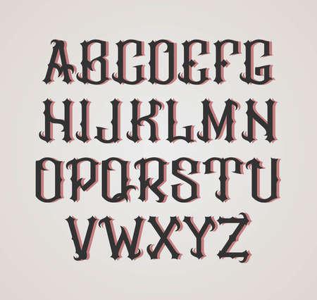 cartas antiguas: fuente de la etiqueta gótico. estilo de etiqueta coñac.