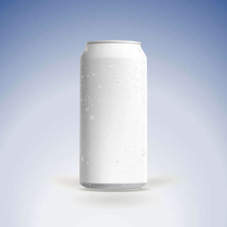beer can: Photorealistic beer can mockup with water drops