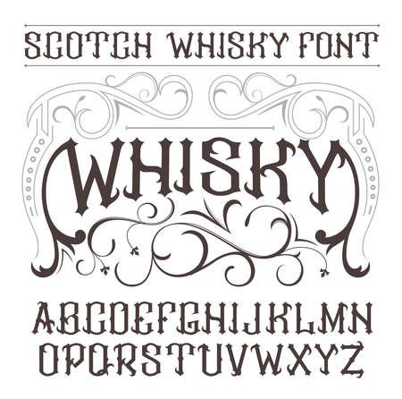 whisky bottle: vintage label font. Whisky label style. Illustration