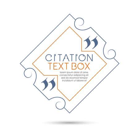 citation: Set of the citation text box. Frame for decoration quote. Illustration