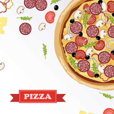 pizza place: Pizza ingredients parts on chalkboard. Pizza with signed ingredients. Set food Pizza