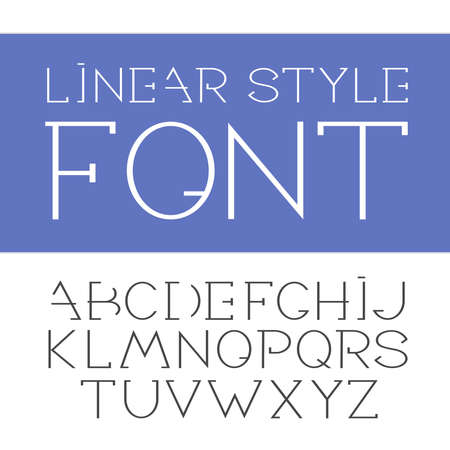 minimalistic: linear font - simple and minimalistic alphabet in line style.