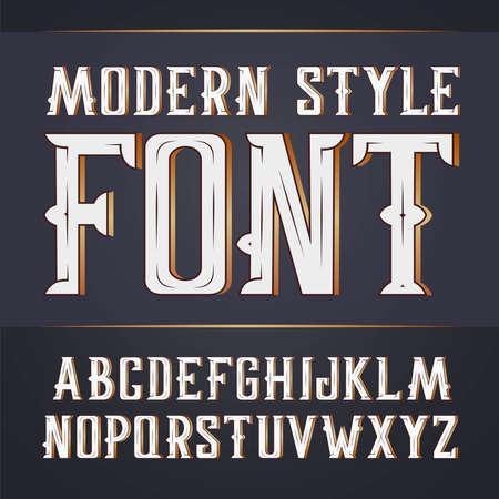 alphabet beer: Vector handy crafted modern label font. On dark background