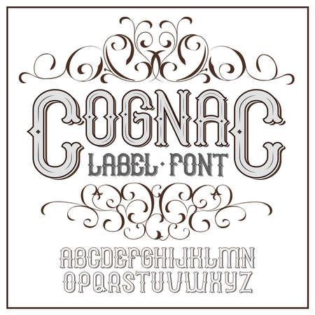 Vector vintage label font. Cognac label style.