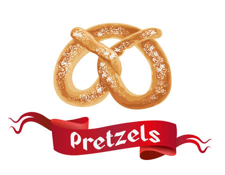 Oktoberfest poster with Pretzels on white background. Octoberfest banner