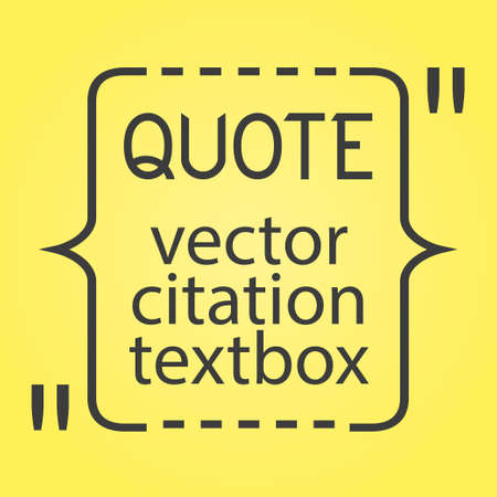 citation: Citation text box. Frame for decoration quote and other information. Quote blank template. Quote bubble. Empty template. Business card template, paper sheet, information, text Print design