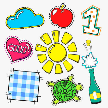 fasion patch set isolated on white background. Cartoon pin with sun, apple, one, turtle, heart, good