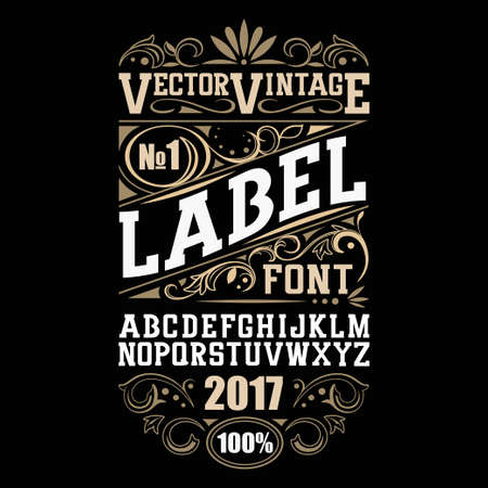 Vintage label font. Whiskey label style with vintage ornament.