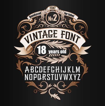 Vintage label lettertype. Cognac-etiketstijl met uitstekend ornament Stockfoto