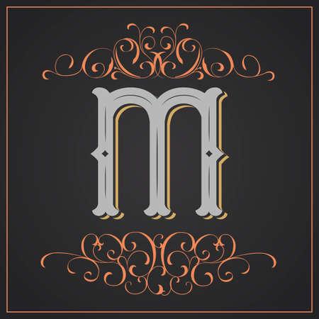 Estilo retro. Diseño de letra occidental. Letra M Foto de archivo - 83804609