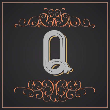 Estilo retro. Diseño de letra occidental. Letra Q Foto de archivo - 83804616
