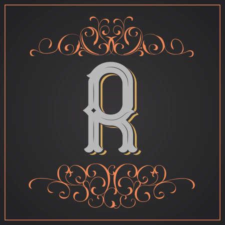 Diseño occidental de la letra R. Foto de archivo - 83804614