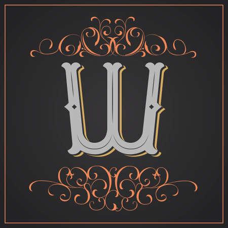 Diseño occidental de la letra W Foto de archivo - 83804619