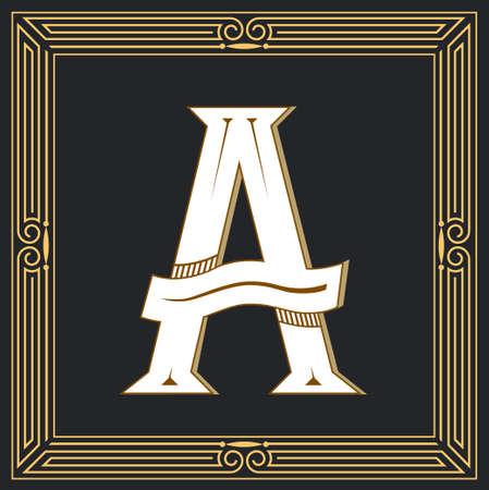 Retro stijl letter A. Stock Illustratie