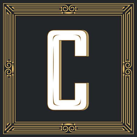 Letra de estilo retro C. Foto de archivo - 83804654