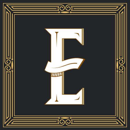 Letra de estilo retro E. Foto de archivo - 83804668