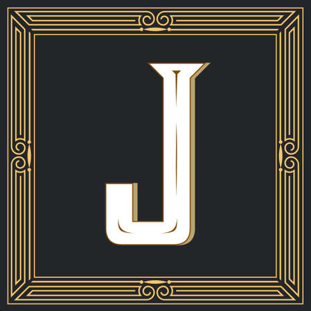 Letra retro del estilo J. Foto de archivo - 83804659