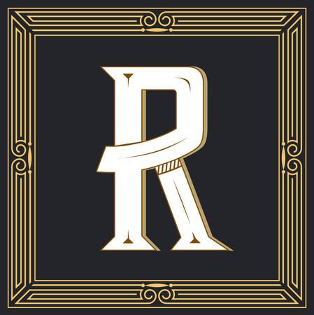 Letra de estilo retro R. Foto de archivo - 83804653