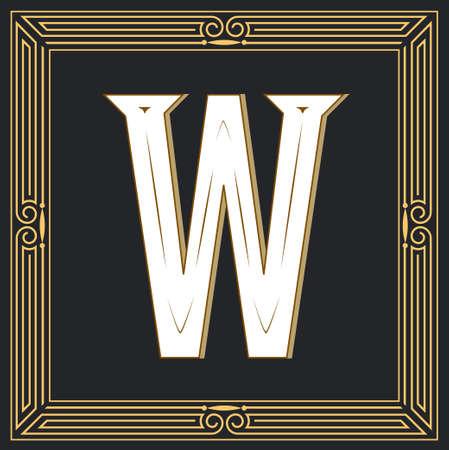 Estilo retro, diseño de letra occidental. Letra W Foto de archivo - 83974645