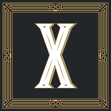 Estilo retro, diseño de letra occidental. Letra X Foto de archivo - 83974644