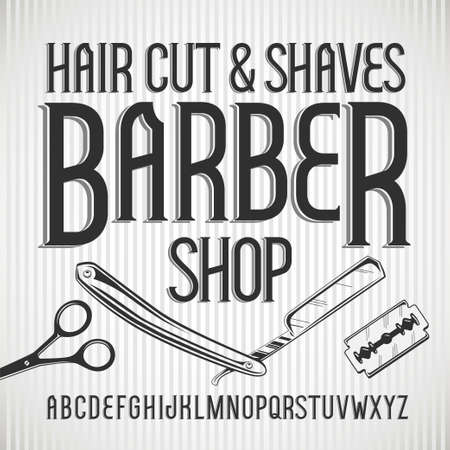 Vector vintage typeface Barbershop. Vector font