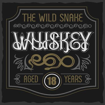 Vector vintage tipo de letra. La insignia de whisky de serpiente salvaje Foto de archivo - 88027991