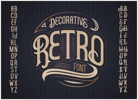 Vector retro typeface. Vector font Иллюстрация