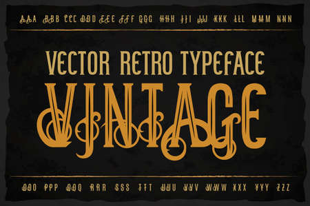 Vector vintage typeface. Vector font with style effects