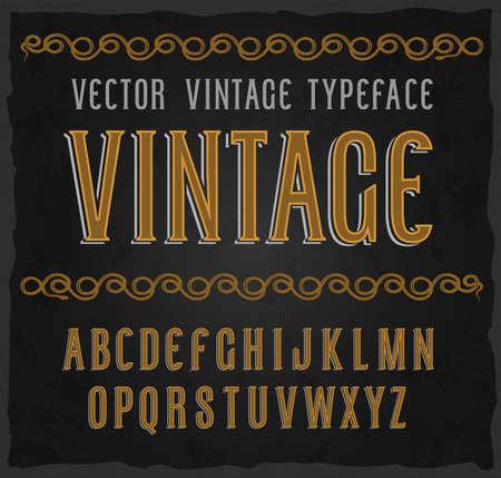 Vector vintage tipo de letra. Fuente de vector con efectos de estilo Foto de archivo - 88255484