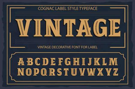 Fuente de etiqueta vintage. Estilo de etiqueta de Cognac. Foto de archivo - 89779922