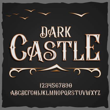 Diseño de estilo de fuente de Dark Castle. Foto de archivo - 89304194