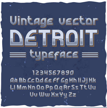Vector vintage typeface Detroit . Vector font with style effects Foto de archivo - 99387642
