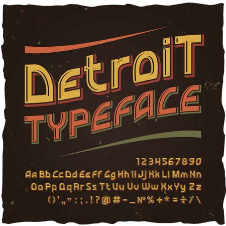 Vector vintage typeface Detroit . Vector font with style effects Foto de archivo - 99419586