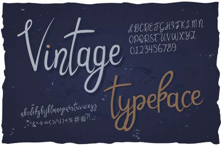Vector vintage typeface. Handwritten font Illustration