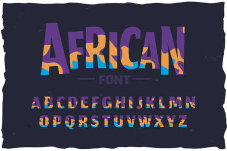 Vector typeface. Funny african style font Foto de archivo - 105023585