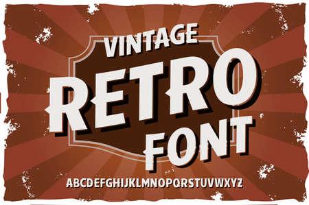 Vector vintage typeface. Retro style vector font Foto de archivo - 104783000