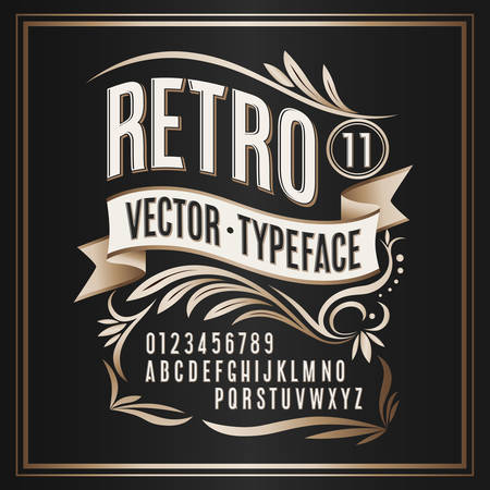 Vector vintage typeface. Retro golden badge Foto de archivo - 110722752