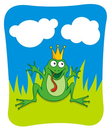 be kissed: Prince frog waving to be kissed Illustration