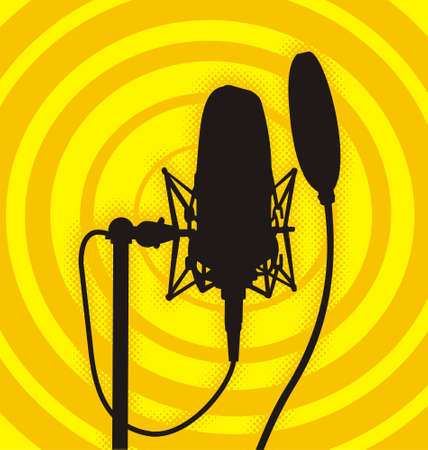 Silhouette of a studio microphone Illustration