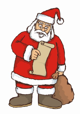 Sketch of Santa reading a list Stock Vector - 2216553