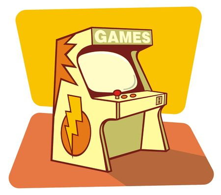 leisure games: Vector illustration of a retro game coin console Illustration