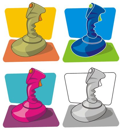 zapping: Vector illustration of joystick in four color versions