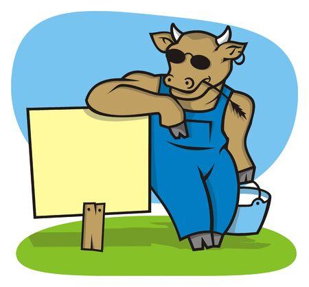 vaca caricatura: Cool ganado el desempe�o de leche con signo dispuesta a transmitir su mensaje  Vectores