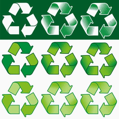 Vector recycling symbol with assorted coloring and shading options
