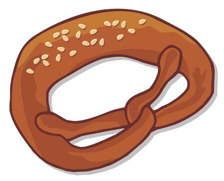sesame seeds: Baked pretzel with sesame seeds Illustration