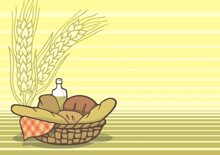 Basket of breads background Vector